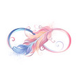 infinity symbol with pink feather vector image vector image