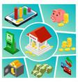isometric banking and finance composition vector image vector image
