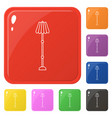 line style lamp icons set 8 colors isolated on vector image vector image
