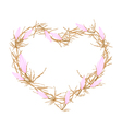 Pink Equiphyllum Flowers in Heart Shape Frame vector image vector image