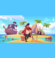 pirate buried treasure chest on tropical island vector image