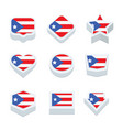 puerto rico flags icons and button set nine styles vector image