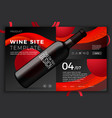 red wine bottle on modern site template vector image