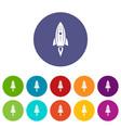 rocket space icons set color vector image vector image