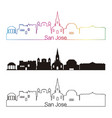 san jose skyline linear style with rainbow vector image vector image
