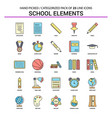 school elements flat line icon set - business vector image vector image