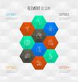 school icons line style set with quiz informatics vector image