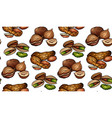 seamless pattern with colored cartoon nuts on a vector image