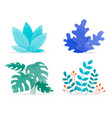 set flat colorful style leaves isolated vector image vector image