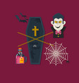 set of cute halloween elements objects vector image