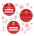 set of round christmas knitted labels snowflakes vector image vector image