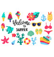 summer lettering set hand drawn icons signs and vector image