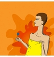 The girl keeping a flower vector image