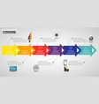 timeline infographics design template with 12 vector image