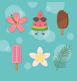 tropical and summer set icons vector image vector image