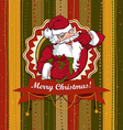 Vintage Christmas card with Santa Claus vector image