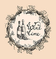 wine bottles and wreath from grape leaves vector image