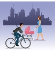 woman walking pram and boy ride bike city vector image