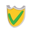 Yellow shield with green tick icon cartoon style vector image