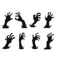 zombie hands icon set vector image