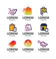 online shop logo set vector image