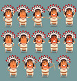 set of indian flat icons vector image