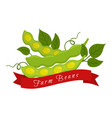 soy beans labellogofarm product vegetarian food vector image