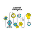 artificial intelligence robot connection vector image vector image