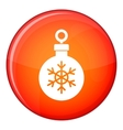 Ball for the Christmas tree icon flat style vector image