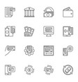 bank and money outline concept icons set vector image vector image