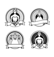 Black and white wedding stamps vector image