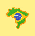 brazil - map colored with brazilian flag vector image