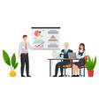 businessman makes a presentation a statistical vector image