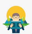 businessman reading design vector image vector image