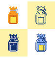 candle in gift pack icon set in flat and line vector image