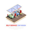 carwash isometric composition vector image