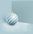 christmas blue bauble with geometric pattern 3d vector image vector image