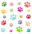 colored pattern with paw prints vector image vector image