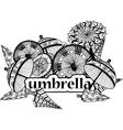 decorative image of umbrellas in cartoon style vector image vector image