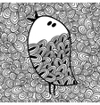 Doodle pattern with black and white bird image for vector image vector image