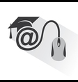 e-learning concept with graduation cap and compute vector image vector image