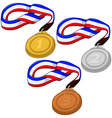 First Second and Third Place Medals Pack vector image