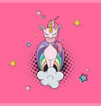 flat funny magic unicorn on cloud isolated vector image vector image