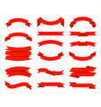 flat ribbons banner tape collection premium red vector image vector image