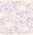 floral holiday pattern easter bunny eggs seamless vector image