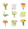 flowers composition set icons isolated on white vector image vector image