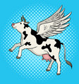 flying cow farm animal pop art vector image vector image