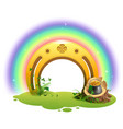 golden horseshoe rainbow and pot of gold symbol vector image vector image