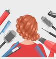 hairdressing girl in beauty salon banner flat vector image vector image