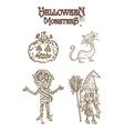 halloween characters set eps10 vector image